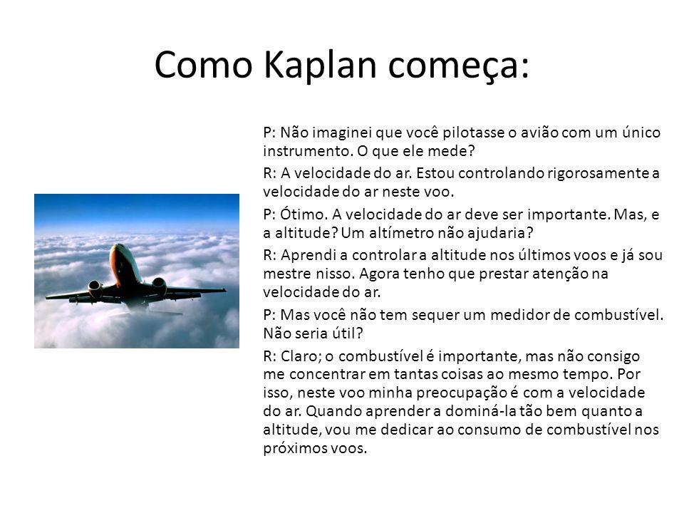 Como Kaplan começa: P: Não imaginei que você pilotasse o avião com um único instrumento. O que ele mede? R: A velocidade do ar. Estou controlando rigo