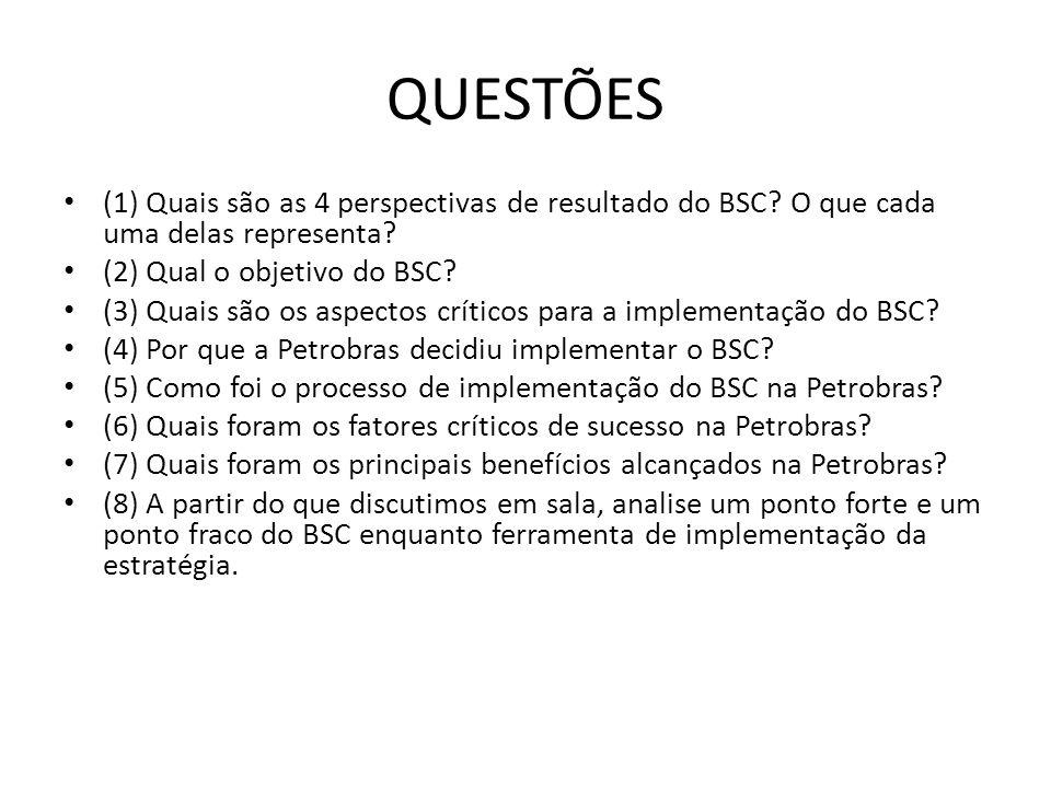 QUESTÕES • (1) Quais são as 4 perspectivas de resultado do BSC? O que cada uma delas representa? • (2) Qual o objetivo do BSC? • (3) Quais são os aspe