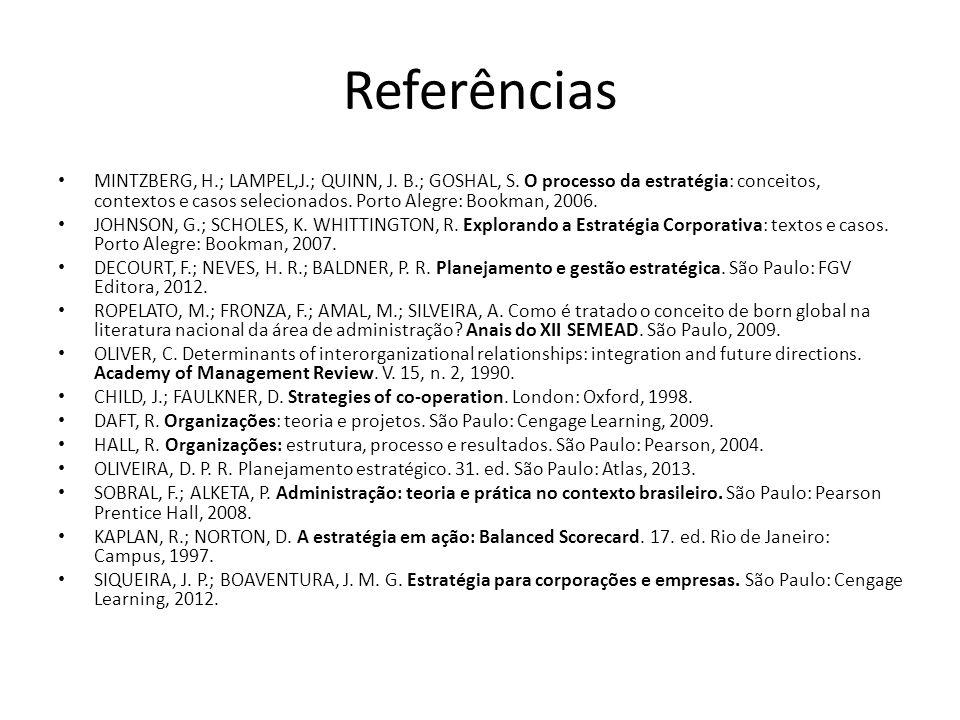 Referências • MINTZBERG, H.; LAMPEL,J.; QUINN, J. B.; GOSHAL, S. O processo da estratégia: conceitos, contextos e casos selecionados. Porto Alegre: Bo