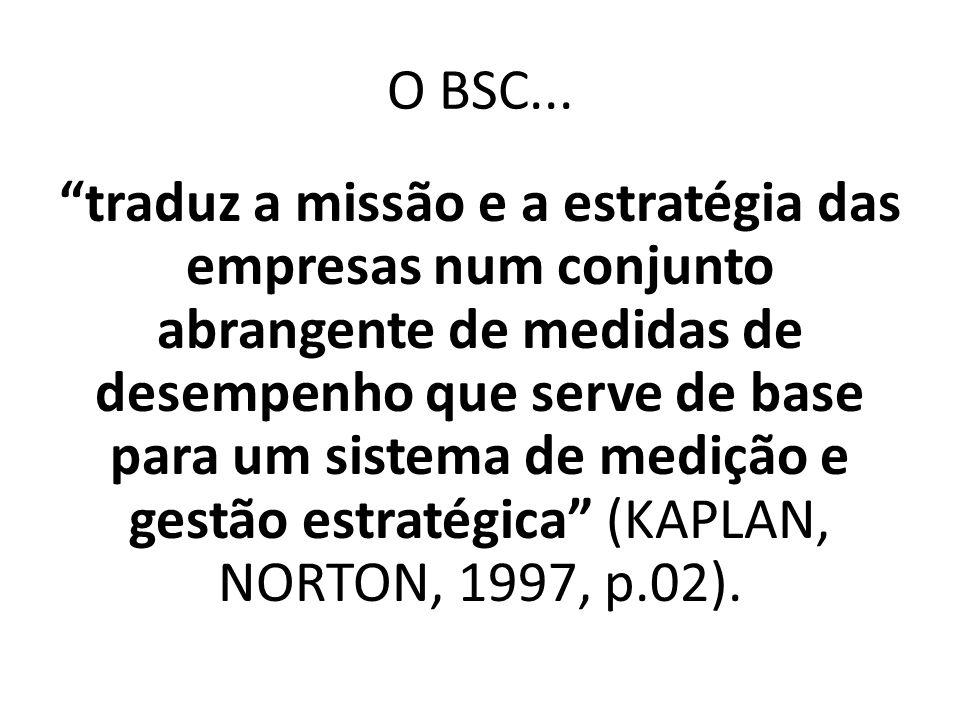"""O BSC... """"traduz a missão e a estratégia das empresas num conjunto abrangente de medidas de desempenho que serve de base para um sistema de medição e"""