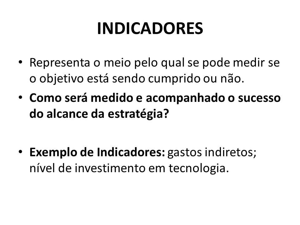 INDICADORES • Representa o meio pelo qual se pode medir se o objetivo está sendo cumprido ou não. • Como será medido e acompanhado o sucesso do alcanc