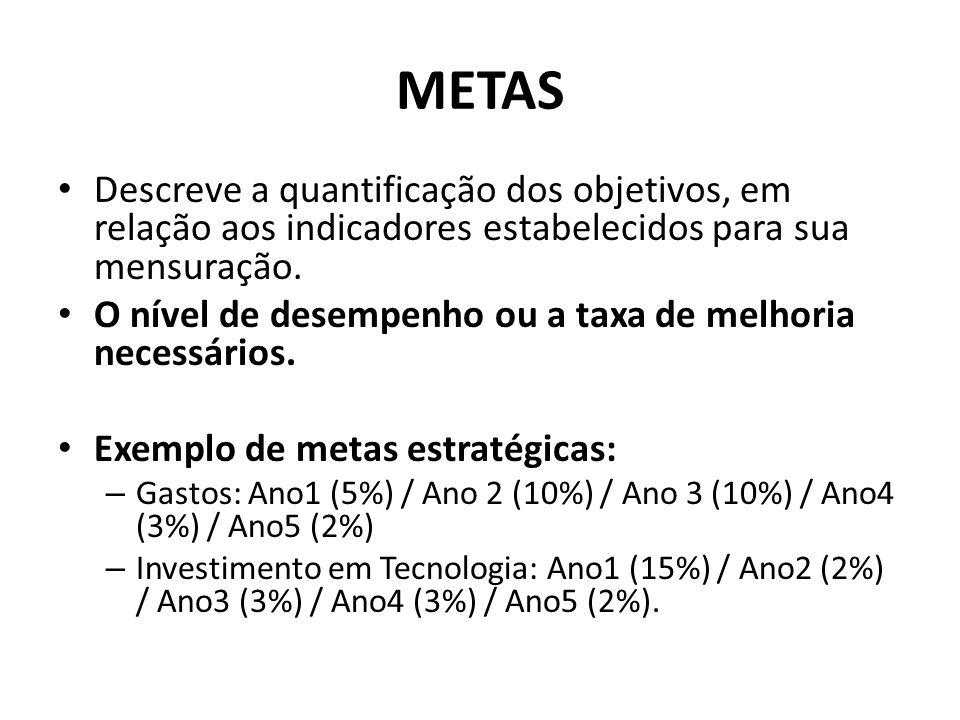 METAS • Descreve a quantificação dos objetivos, em relação aos indicadores estabelecidos para sua mensuração. • O nível de desempenho ou a taxa de mel
