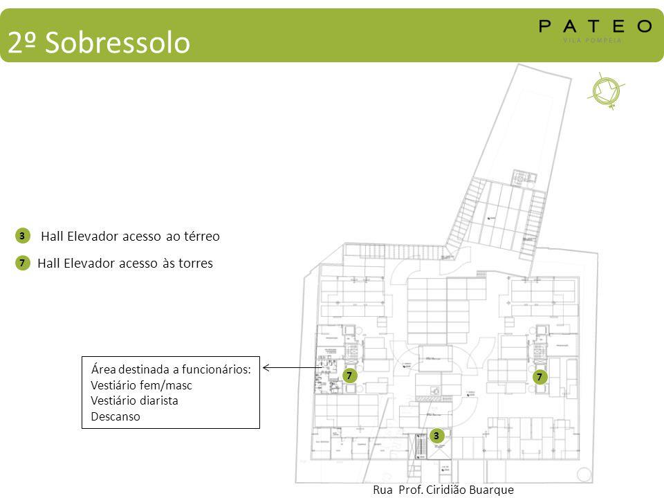 Hall Elevador acesso ao térreo Hall Elevador acesso às torres 3 7 3 7 7 Rua Prof. Ciridião Buarque 2º Sobressolo Área destinada a funcionários: Vestiá