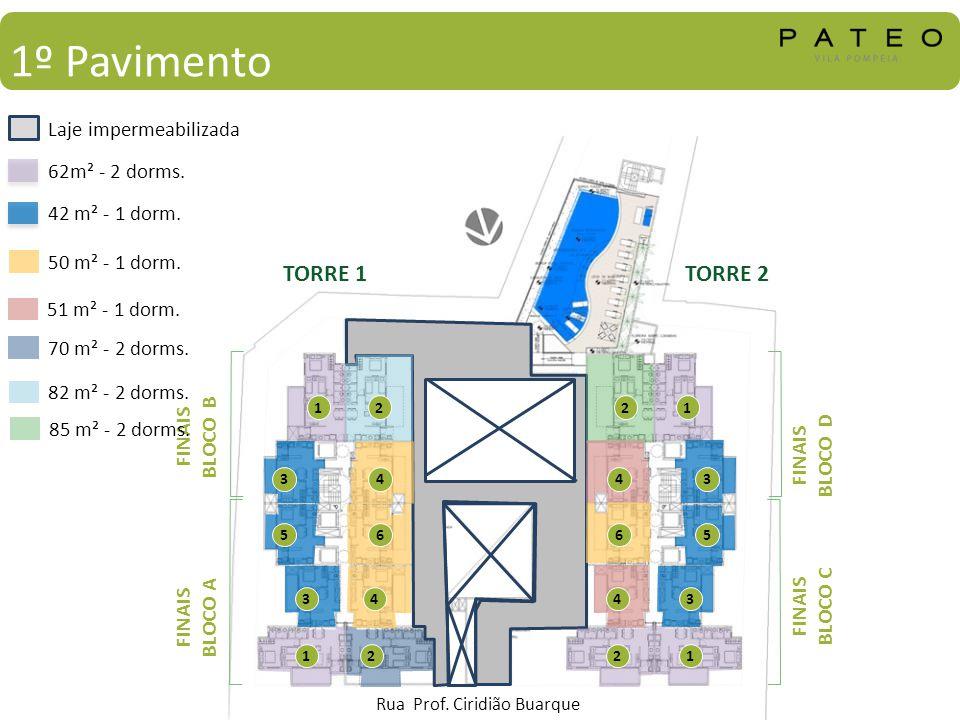 1º Pavimento 62m² - 2 dorms. 42 m² - 1 dorm. Laje impermeabilizada 1 3 5 1 3 1 3 5 1 3 2 4 6 2 4 2 4 6 2 4 TORRE 1TORRE 2 FINAIS BLOCO B FINAIS BLOCO