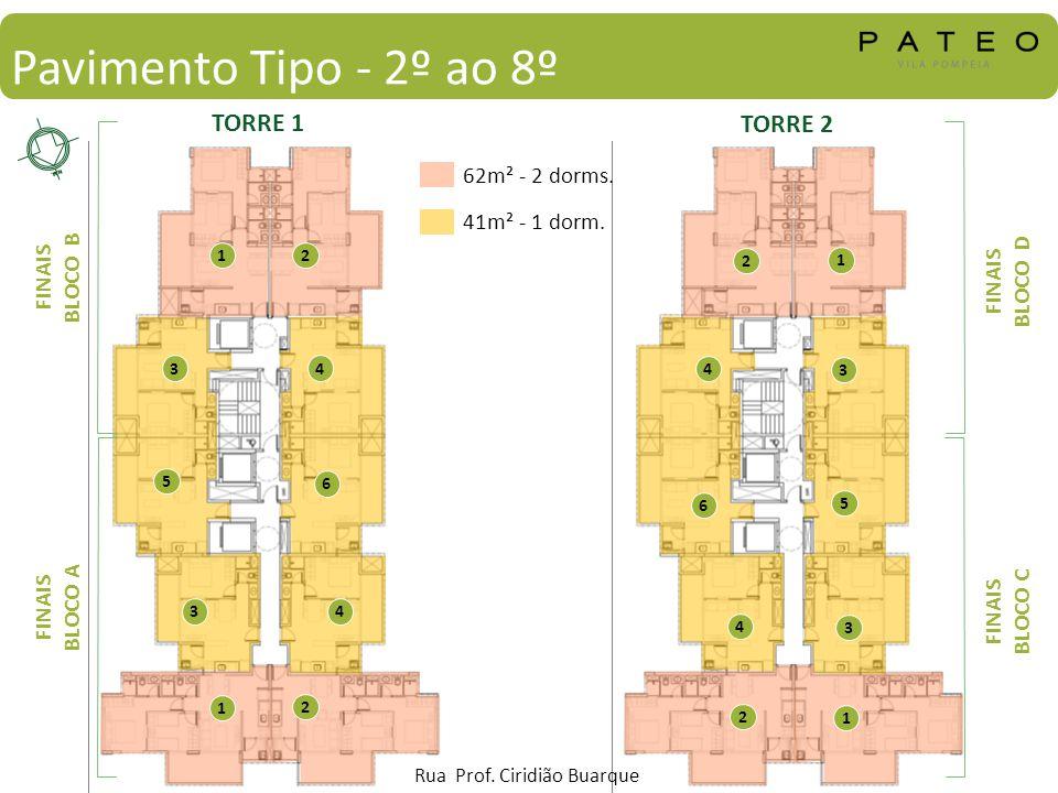 Pavimento Tipo - 2º ao 8º 62m² - 2 dorms. 41m² - 1 dorm. 1 2 34 5 6 1 2 34 TORRE 1 TORRE 2 FINAIS BLOCO B FINAIS BLOCO A FINAIS BLOCO D FINAIS BLOCO C