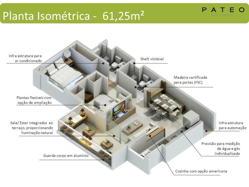 Planta Isométrica - 61,25m² Plantas flexíveis com opção de ampliação Guarda corpo em alumínio Cozinha com opção americana Previsão para medição de águ