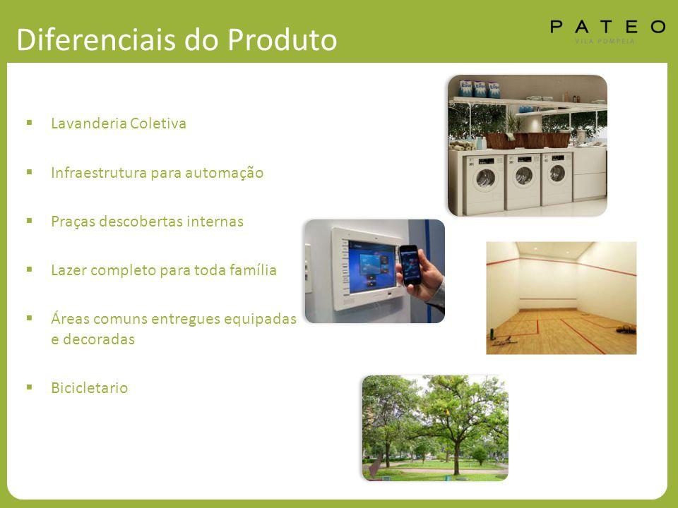 Diferenciais do Produto  Lavanderia Coletiva  Infraestrutura para automação  Praças descobertas internas  Lazer completo para toda família  Áreas