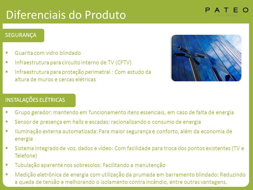 Diferenciais do Produto  Guarita com vidro blindado  Infraestrutura para circuito interno de TV (CFTV)  Infraestrutura para proteção perimetral : C