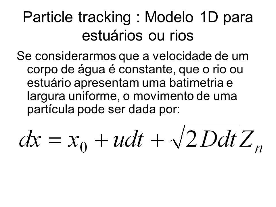 Particle tracking : Modelo 1D para estuários ou rios Se considerarmos que a velocidade de um corpo de água é constante, que o rio ou estuário apresentam uma batimetria e largura uniforme, o movimento de uma partícula pode ser dada por: