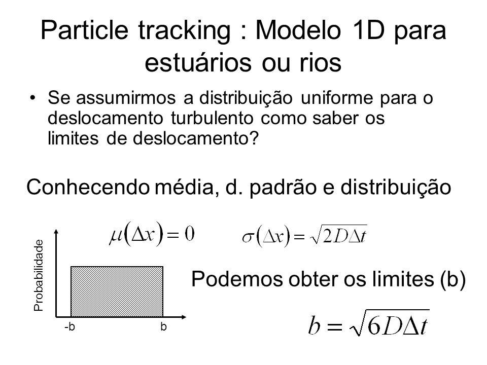 Particle tracking : Modelo 1D para estuários ou rios •Se assumirmos a distribuição uniforme para o deslocamento turbulento como saber os limites de deslocamento.