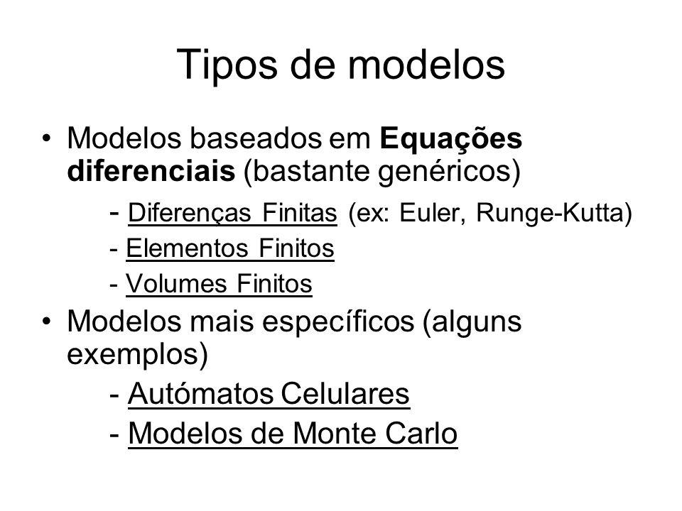 Tipos de modelos •Modelos baseados em Equações diferenciais (bastante genéricos) - Diferenças Finitas (ex: Euler, Runge-Kutta) - Elementos Finitos - Volumes Finitos •Modelos mais específicos (alguns exemplos) - Autómatos Celulares - Modelos de Monte Carlo