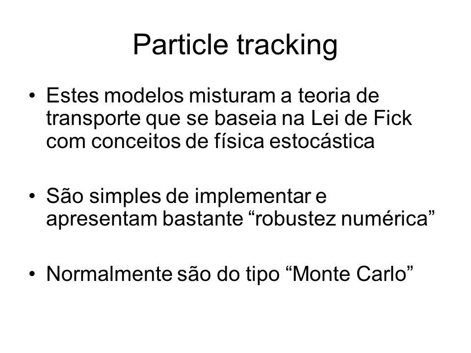 Particle tracking : Modelo 1D para estuários ou rios Probabilidade x0x0 x 0 +udt t0t0 t1t1 Probabilidade udt