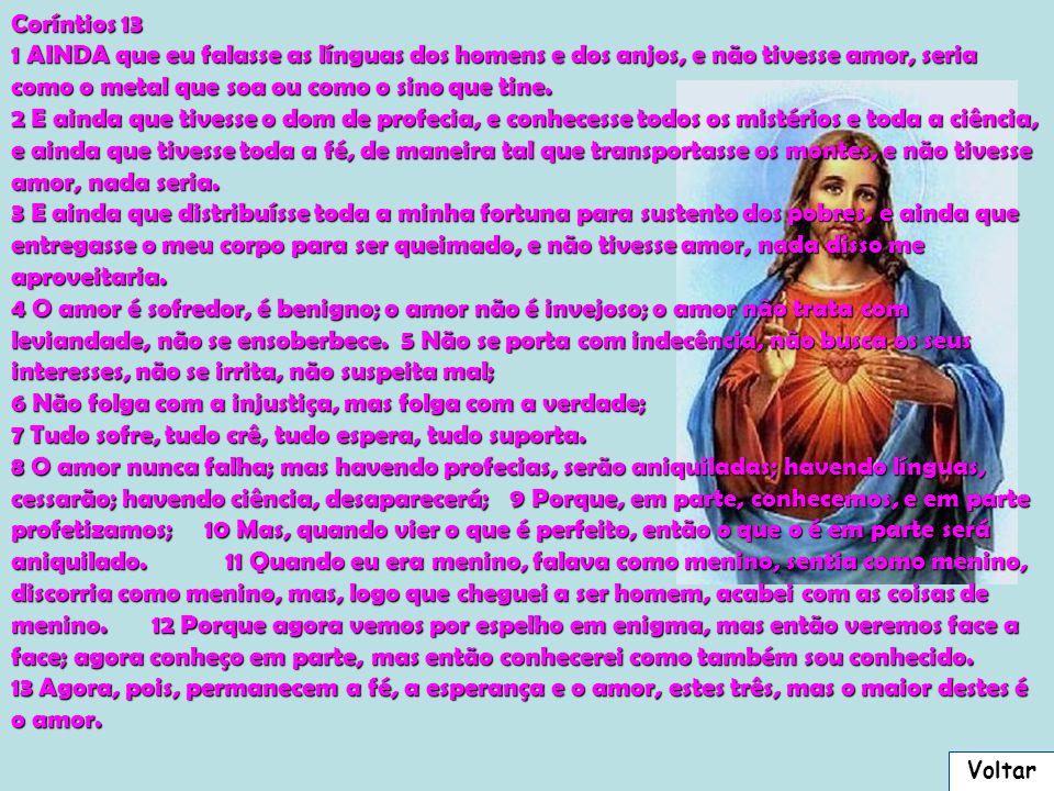 Coríntios 13 1 AINDA que eu falasse as línguas dos homens e dos anjos, e não tivesse amor, seria como o metal que soa ou como o sino que tine.