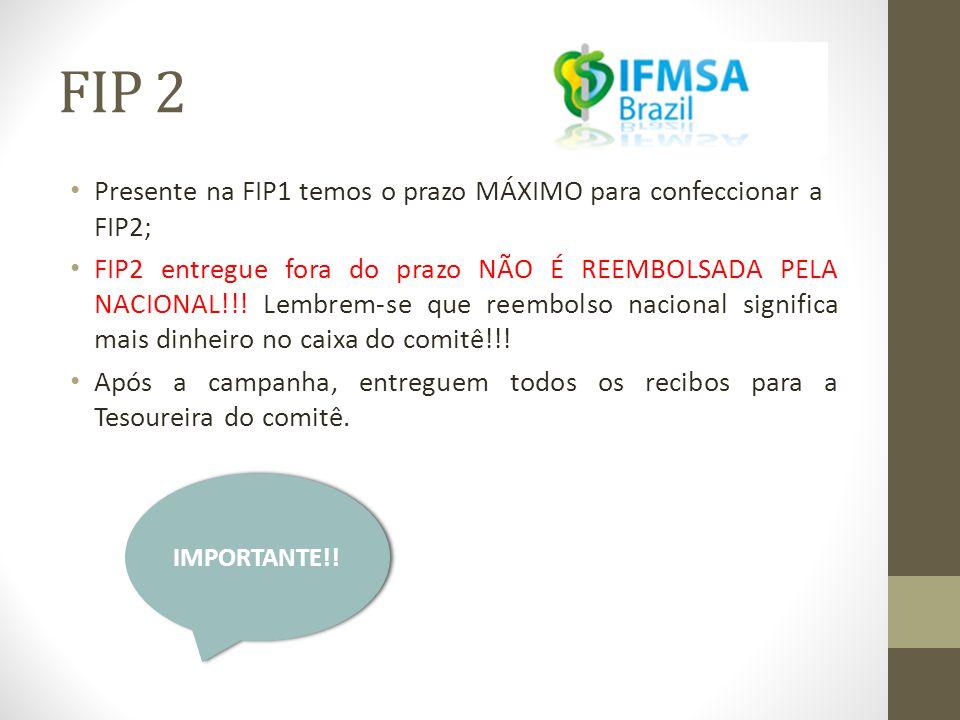 FIP 2 • Presente na FIP1 temos o prazo MÁXIMO para confeccionar a FIP2; • FIP2 entregue fora do prazo NÃO É REEMBOLSADA PELA NACIONAL!!.