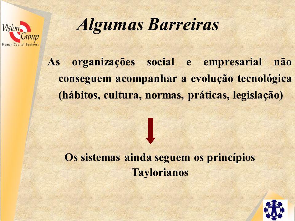 Algumas Barreiras As organizações social e empresarial não conseguem acompanhar a evolução tecnológica (hábitos, cultura, normas, práticas, legislação) Os sistemas ainda seguem os princípios Taylorianos
