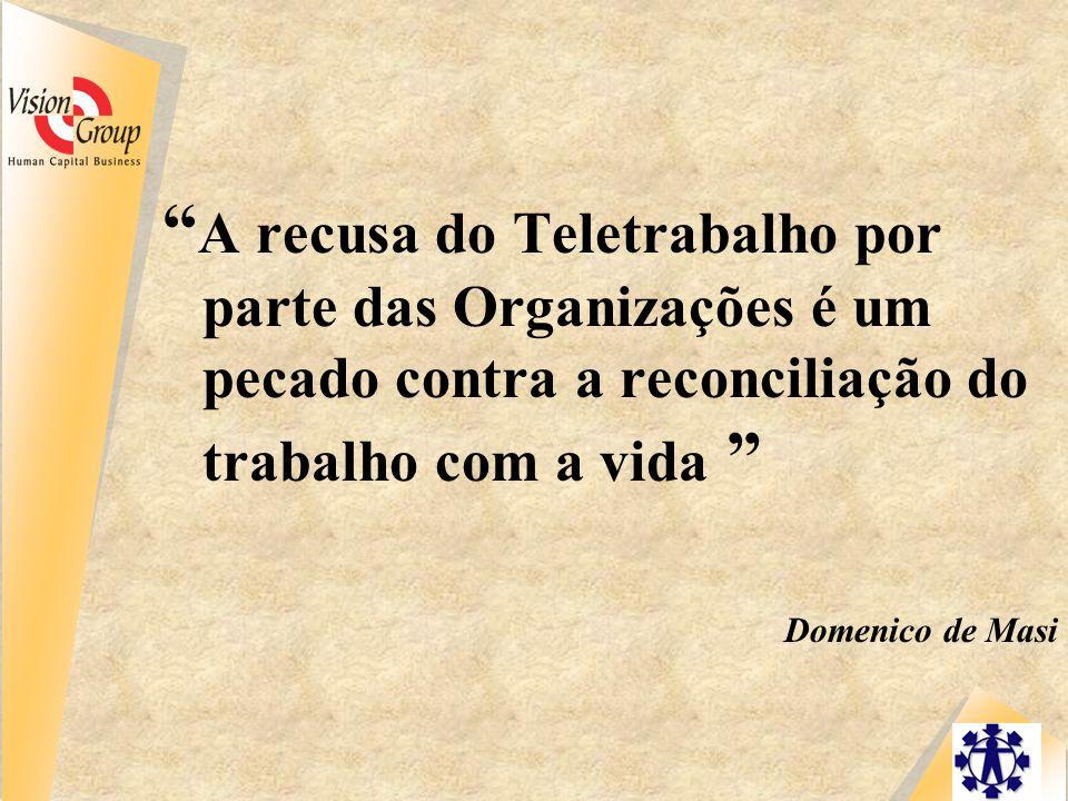 A recusa do Teletrabalho por parte das Organizações é um pecado contra a reconciliação do trabalho com a vida Domenico de Masi