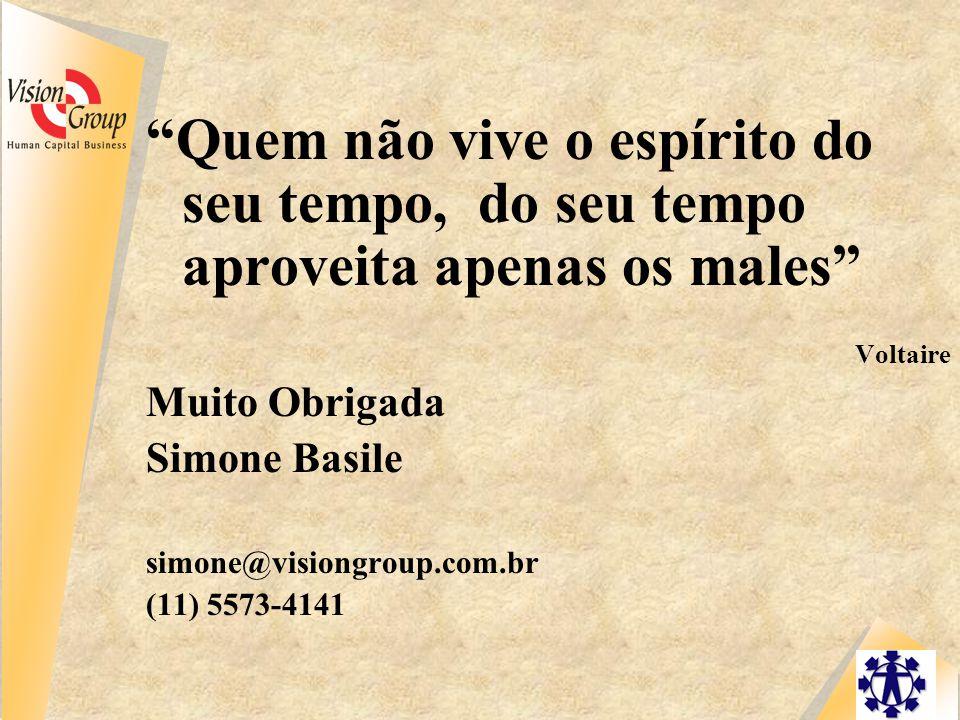Quem não vive o espírito do seu tempo, do seu tempo aproveita apenas os males Voltaire Muito Obrigada Simone Basile simone@visiongroup.com.br (11) 5573-4141 Voltaire