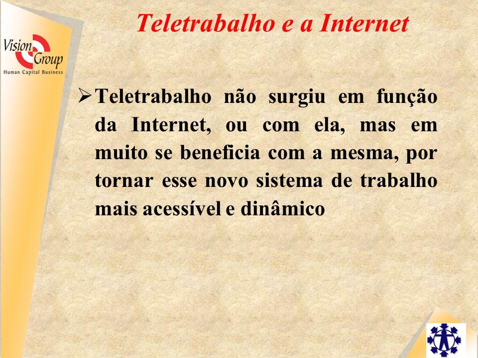 Teletrabalho e a Internet  Teletrabalho não surgiu em função da Internet, ou com ela, mas em muito se beneficia com a mesma, por tornar esse novo sistema de trabalho mais acessível e dinâmico