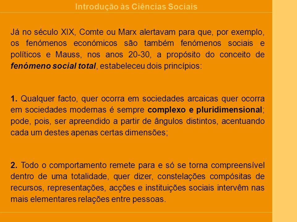 Introdução às Ciências Sociais Esquema de diferenciação das Ciências Sociais 1.
