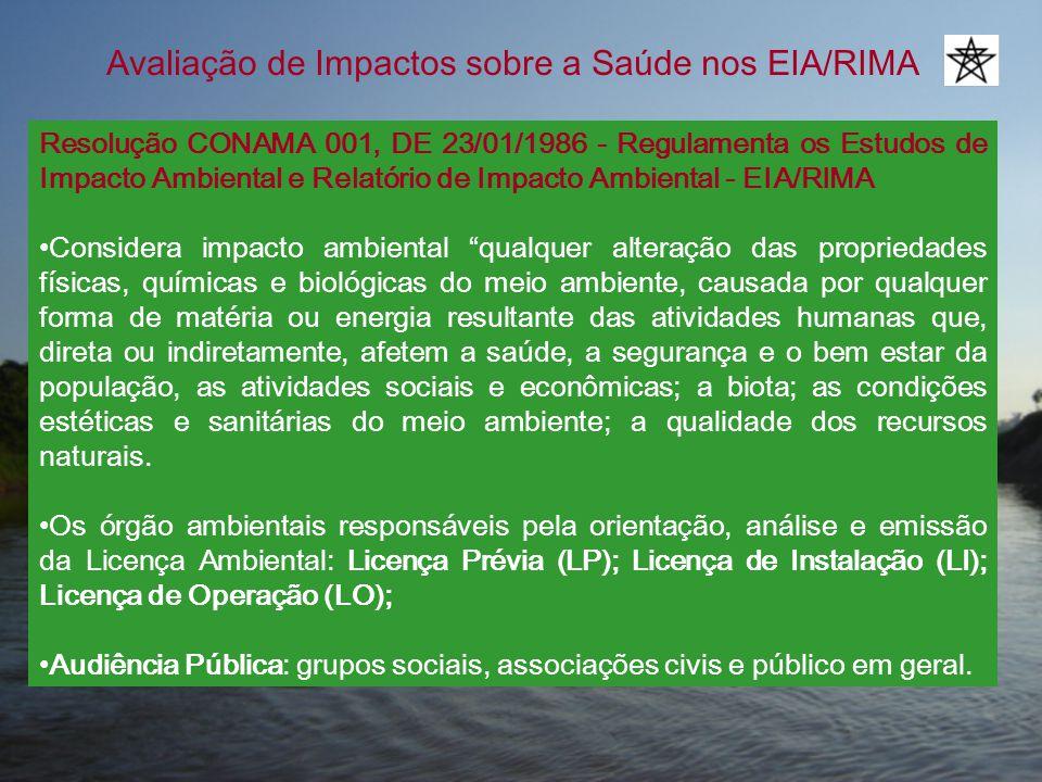 Avaliação de Impactos sobre a Saúde nos EIA/RIMA Resolução CONAMA 001, DE 23/01/1986 - Regulamenta os Estudos de Impacto Ambiental e Relatório de Impa