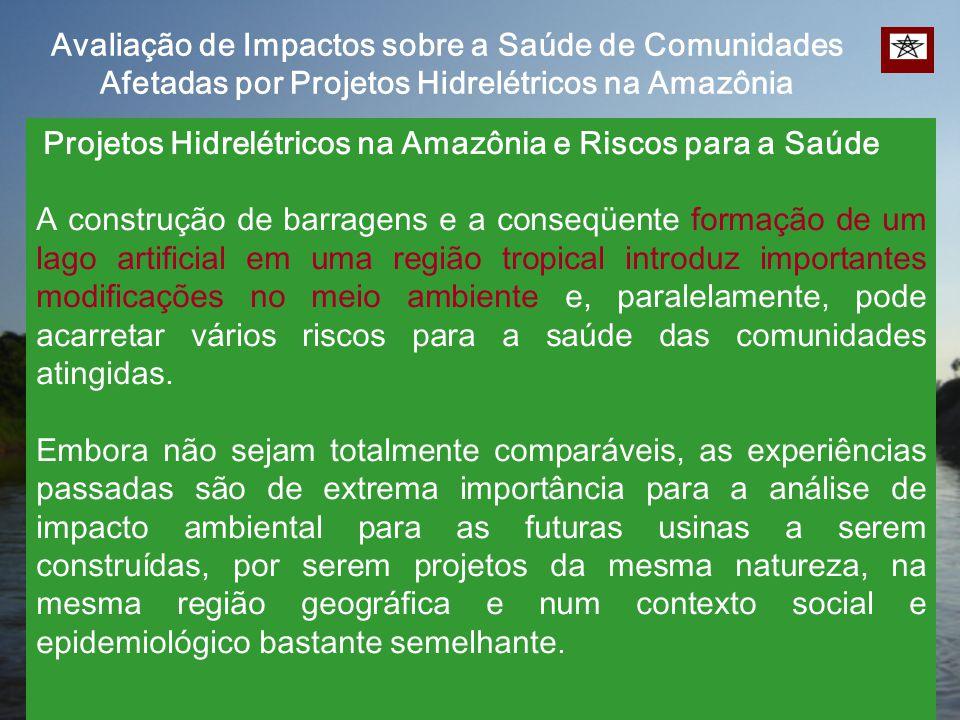Projetos Hidrelétricos na Amazônia e Riscos para a Saúde A construção de barragens e a conseqüente formação de um lago artificial em uma região tropic