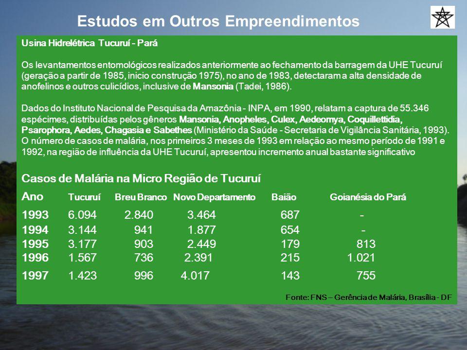 Estudos em Outros Empreendimentos Usina Hidrelétrica Tucuruí - Pará Os levantamentos entomológicos realizados anteriormente ao fechamento da barragem