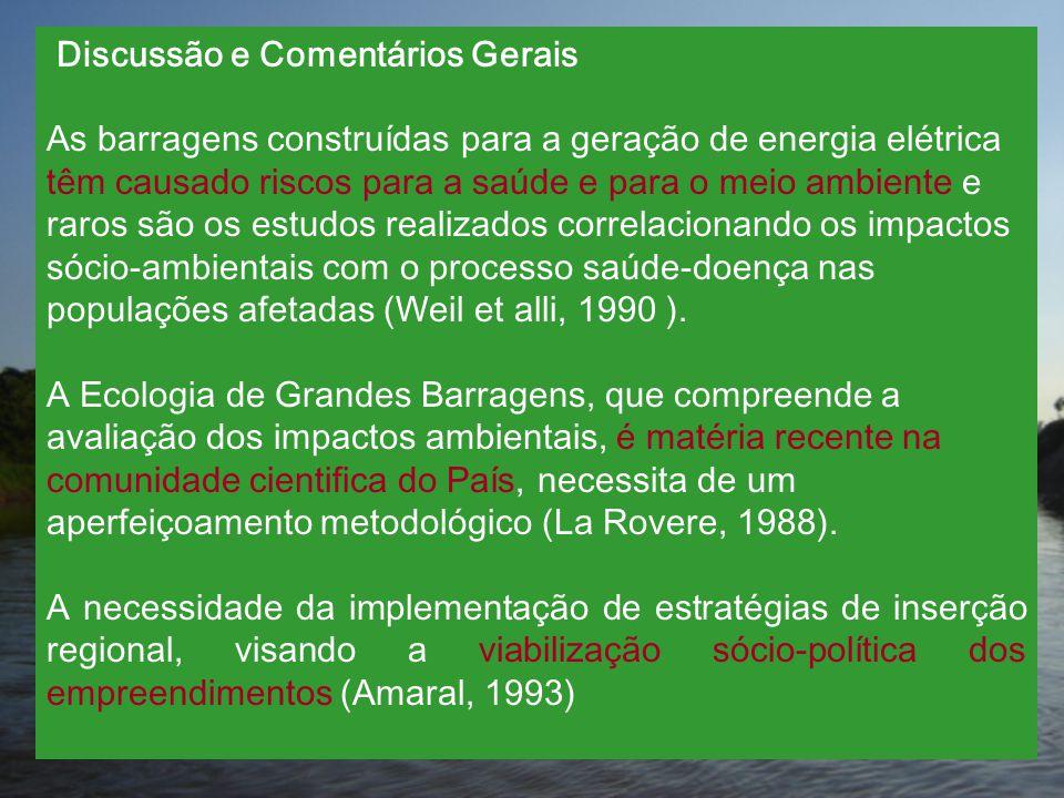 Discussão e Comentários Gerais As barragens construídas para a geração de energia elétrica têm causado riscos para a saúde e para o meio ambiente e ra