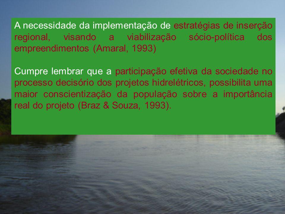 A necessidade da implementação de estratégias de inserção regional, visando a viabilização sócio-política dos empreendimentos (Amaral, 1993) Cumpre le