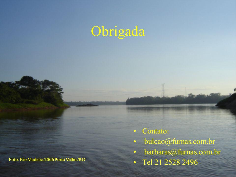 Obrigada •Contato: • bulcao@furnas.com.br • barbaras@furnas.com.br •Tel 21 2528 2496 Foto: Rio Madeira 2006 Porto Velho /RO