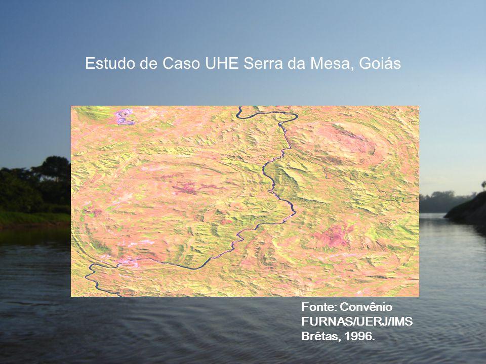 Estudo de Caso UHE Serra da Mesa, Goiás Fonte: Convênio FURNAS/UERJ/IMS Brêtas, 1996.