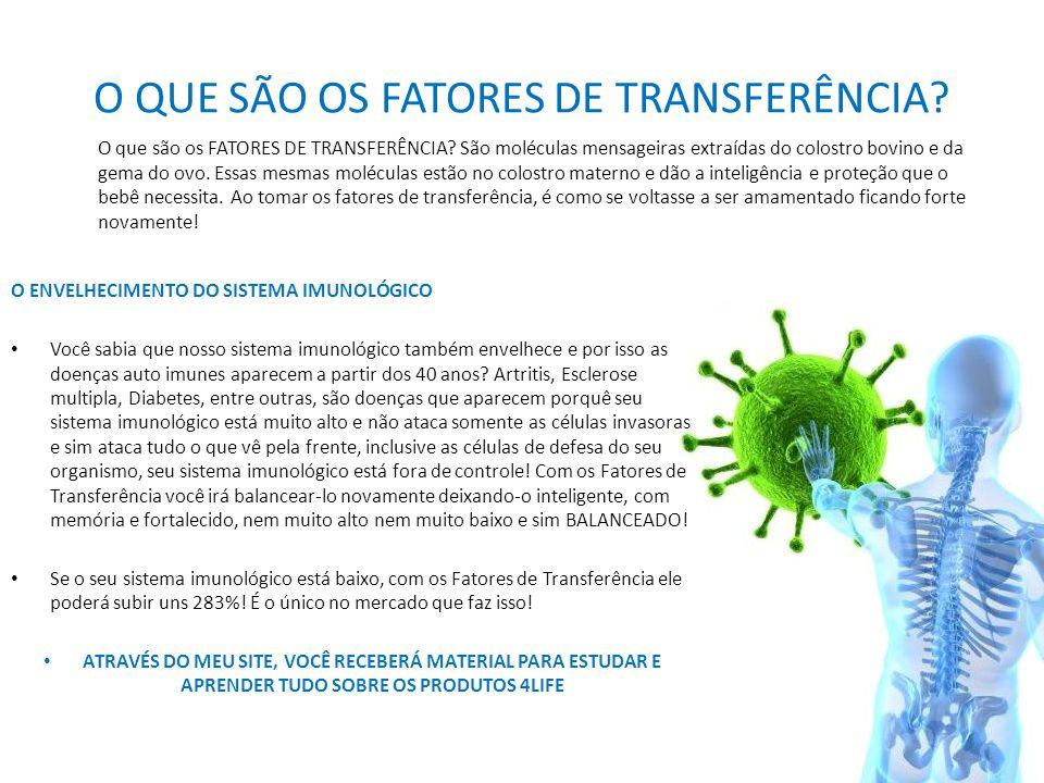 O QUE SÃO OS FATORES DE TRANSFERÊNCIA? O ENVELHECIMENTO DO SISTEMA IMUNOLÓGICO • Você sabia que nosso sistema imunológico também envelhece e por isso