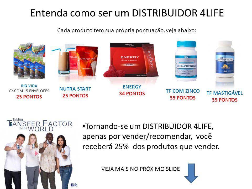 Entenda como ser um DISTRIBUIDOR 4LIFE Cada produto tem sua própria pontuação, veja abaixo: RIO VIDA CX COM 15 ENVELOPES 25 PONTOS NUTRA START 25 PONT