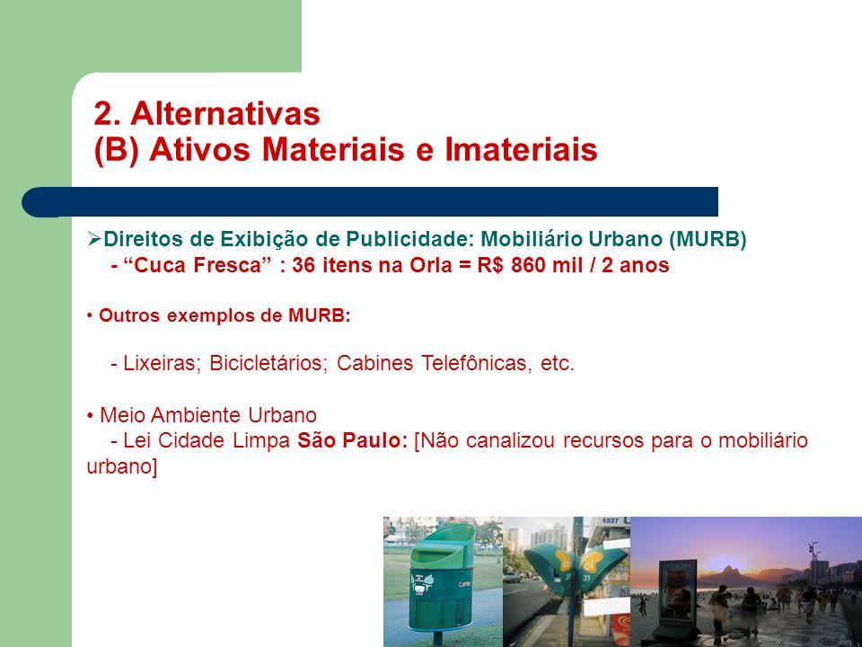 """2. Alternativas (B) Ativos Materiais e Imateriais MASP  Direitos de Exibição de Publicidade: Mobiliário Urbano (MURB) - """"Cuca Fresca"""" : 36 itens na O"""