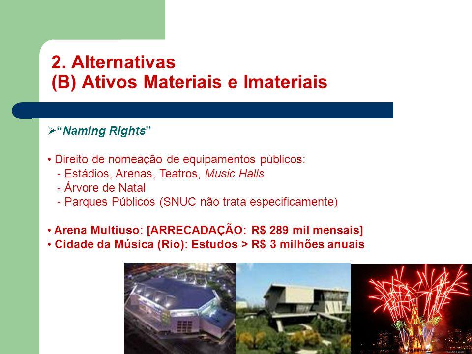 """2. Alternativas (B) Ativos Materiais e Imateriais MASP  """"Naming Rights"""" • Direito de nomeação de equipamentos públicos: - Estádios, Arenas, Teatros,"""
