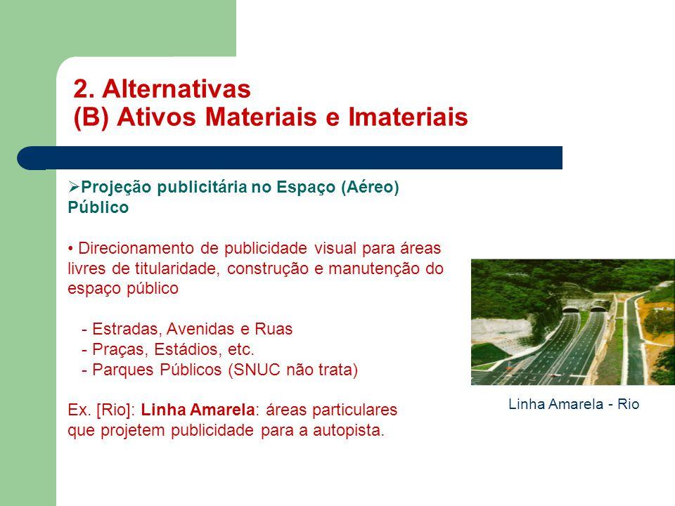 2. Alternativas (B) Ativos Materiais e Imateriais MASP  Projeção publicitária no Espaço (Aéreo) Público • Direcionamento de publicidade visual para á