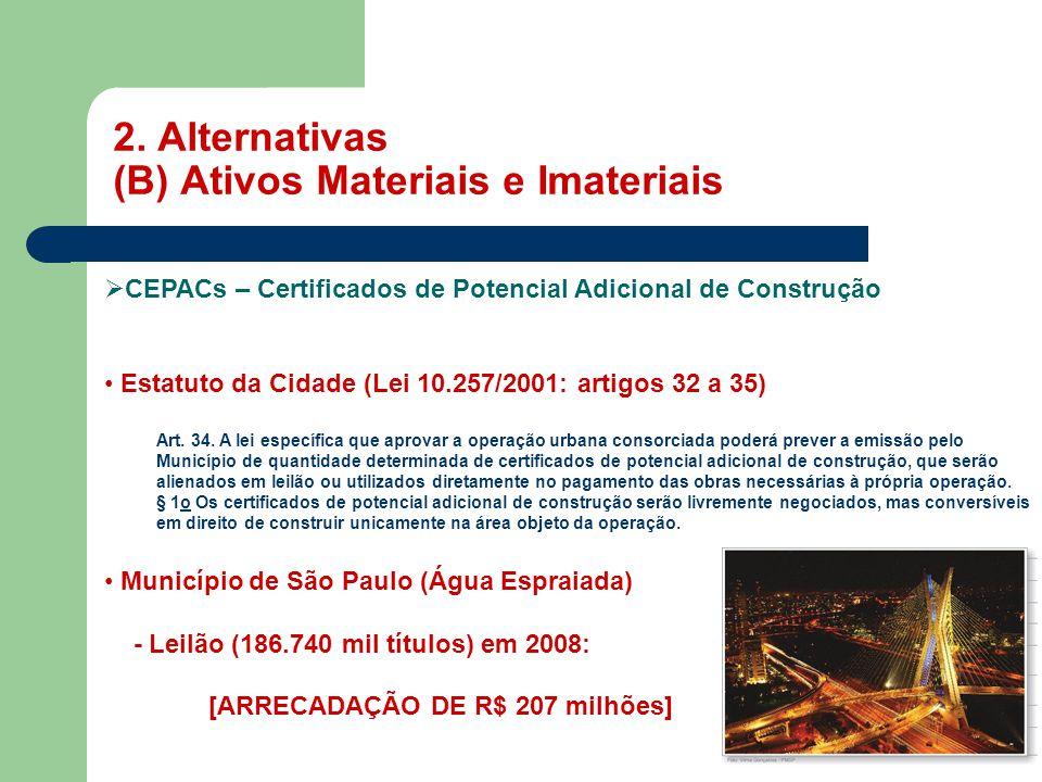 2. Alternativas (B) Ativos Materiais e Imateriais MASP  CEPACs – Certificados de Potencial Adicional de Construção • Estatuto da Cidade (Lei 10.257/2