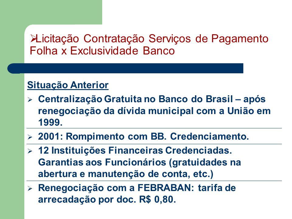 Situação Anterior  Centralização Gratuita no Banco do Brasil – após renegociação da dívida municipal com a União em 1999.  2001: Rompimento com BB.