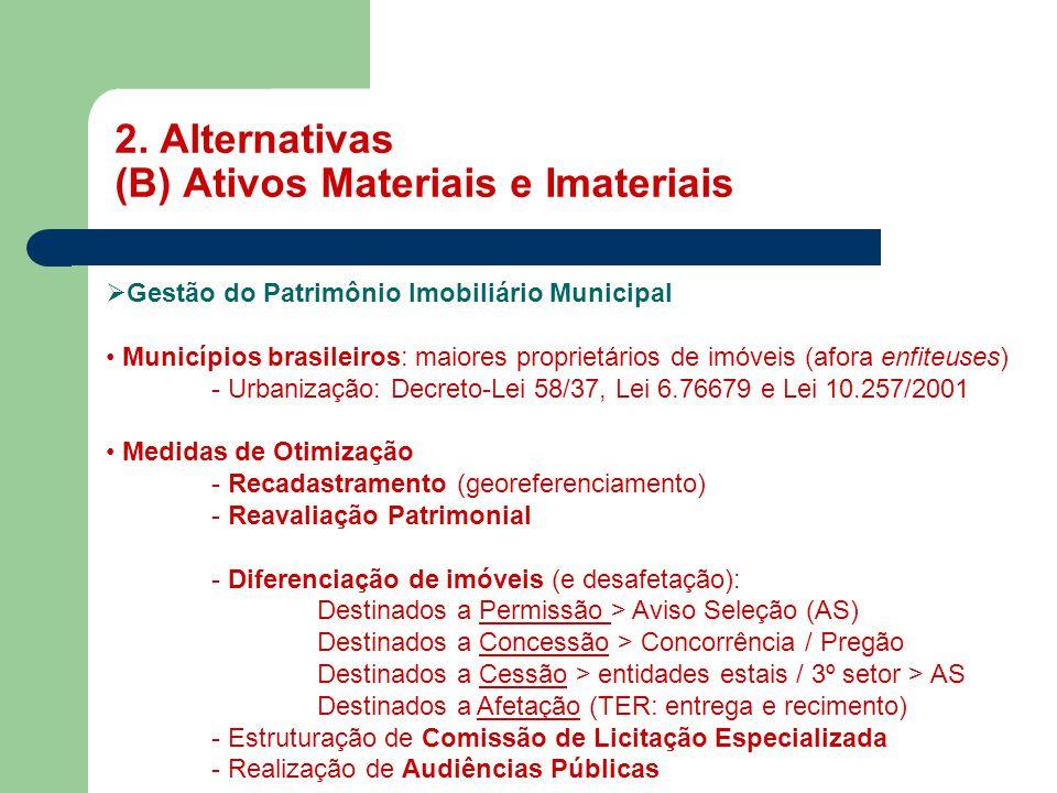 2. Alternativas (B) Ativos Materiais e Imateriais MASP  Gestão do Patrimônio Imobiliário Municipal • Municípios brasileiros: maiores proprietários de