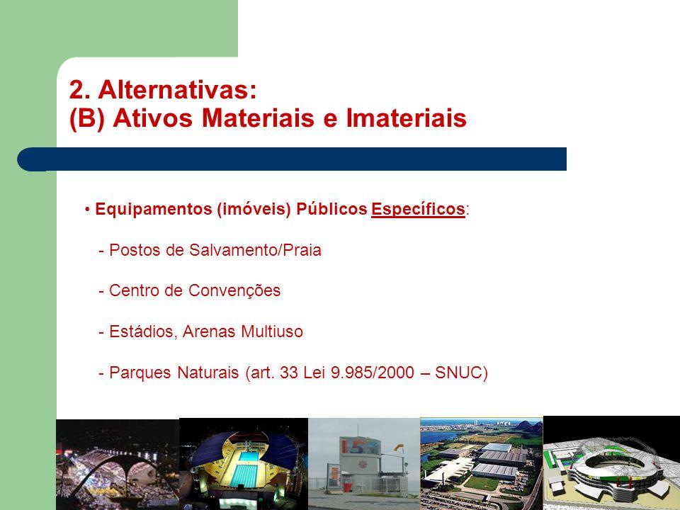 2. Alternativas: (B) Ativos Materiais e Imateriais MASP • Equipamentos (imóveis) Públicos Específicos: - Postos de Salvamento/Praia - Centro de Conven