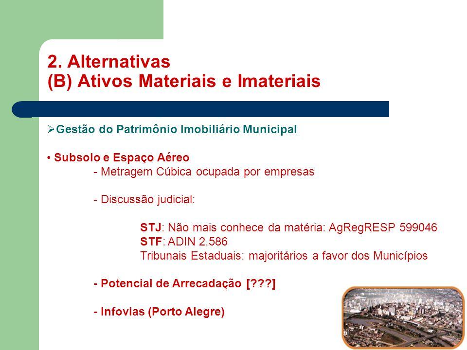 2. Alternativas (B) Ativos Materiais e Imateriais MASP  Gestão do Patrimônio Imobiliário Municipal • Subsolo e Espaço Aéreo - Metragem Cúbica ocupada