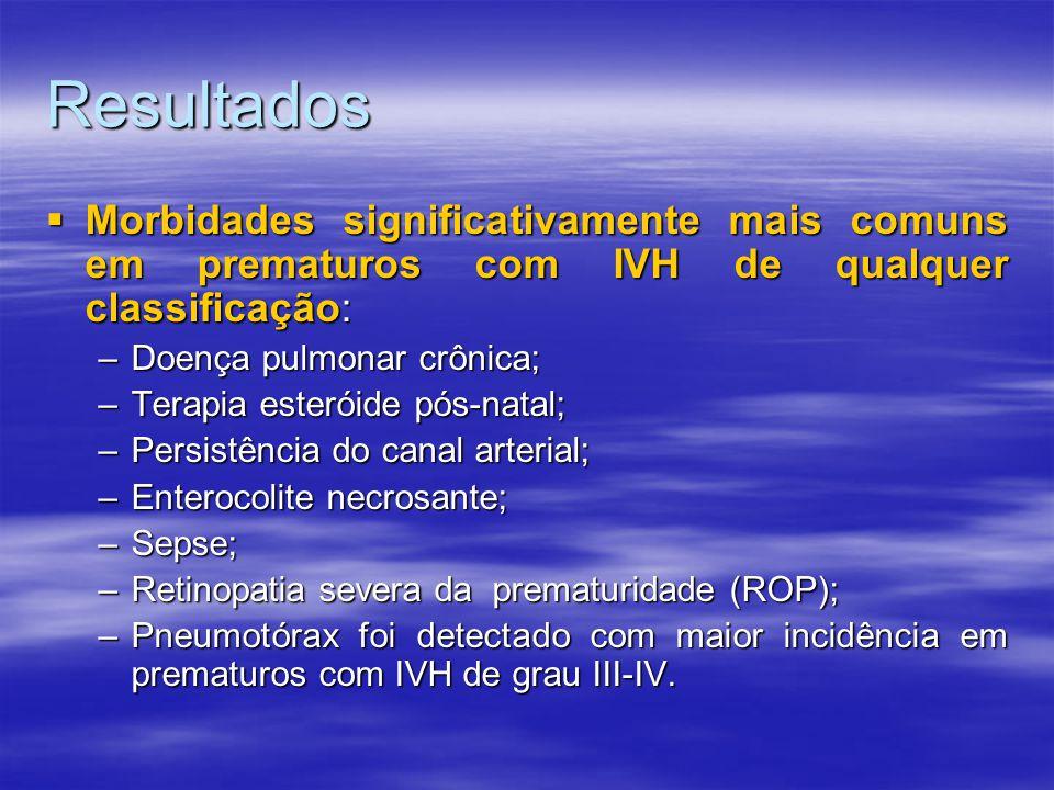 Resultados  Morbidades significativamente mais comuns em prematuros com IVH de qualquer classificação: –Doença pulmonar crônica; –Terapia esteróide pós-natal; –Persistência do canal arterial; –Enterocolite necrosante; –Sepse; –Retinopatia severa da prematuridade (ROP); –Pneumotórax foi detectado com maior incidência em prematuros com IVH de grau III-IV.