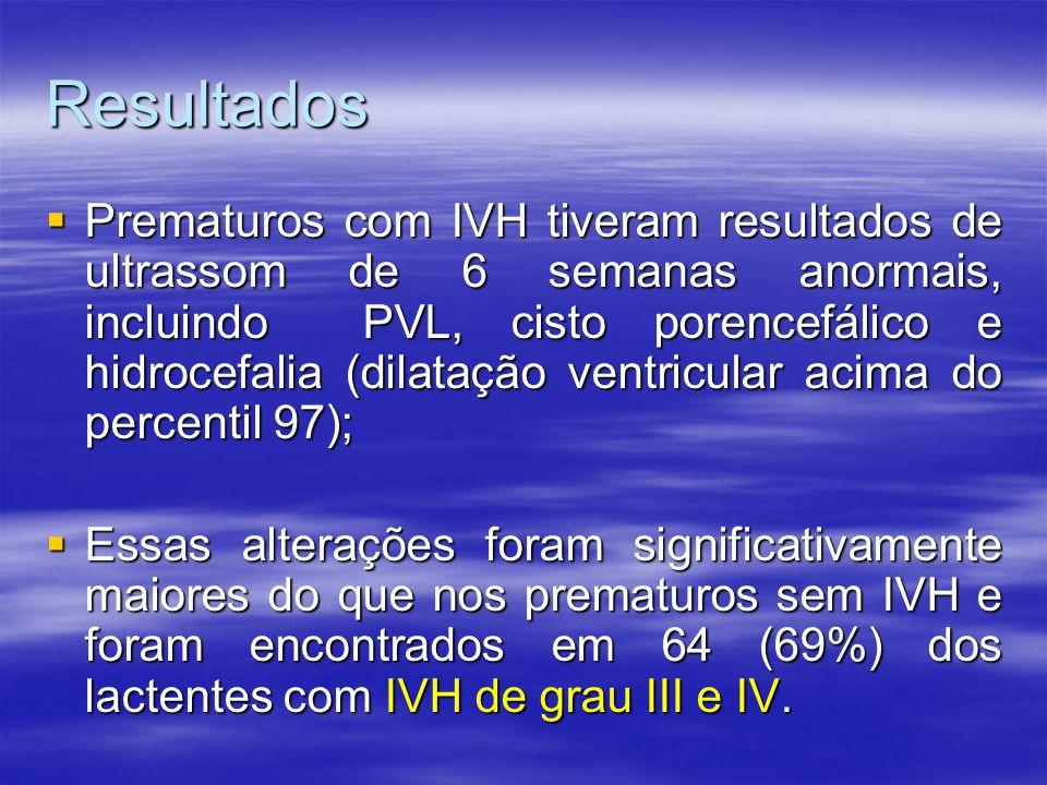 Resultados  Prematuros com IVH tiveram resultados de ultrassom de 6 semanas anormais, incluindo PVL, cisto porencefálico e hidrocefalia (dilatação ventricular acima do percentil 97);  Essas alterações foram significativamente maiores do que nos prematuros sem IVH e foram encontrados em 64 (69%) dos lactentes com IVH de grau III e IV.