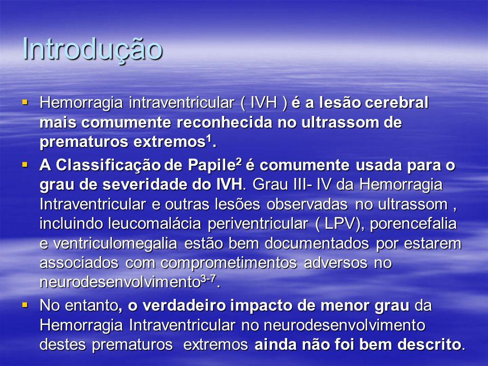 Discussão  O presente estudo regional de uma amostra grande e recente de 1472 sobreviventes muito prematuros revelou que a presença de IVH, até mesmo para o grau I-II, foi associada a resultados de comprometimento no desenvolvimento neurológico;  A deficiência neurossensorial moderada a grave foi significativamente maior no grupo IVH de grau I-II do que o grupo sem IVH (22% vs 12%).