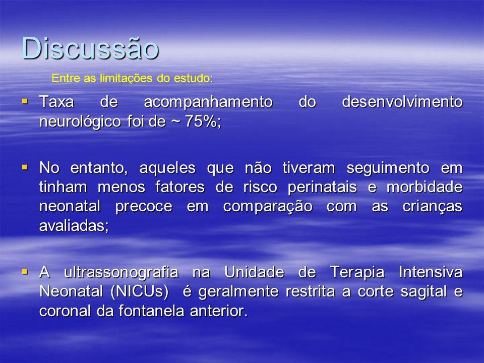 Discussão  Taxa de acompanhamento do desenvolvimento neurológico foi de ~ 75%;  No entanto, aqueles que não tiveram seguimento em tinham menos fator