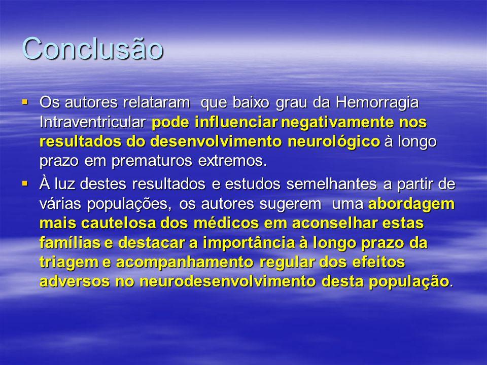 Conclusão  Os autores relataram que baixo grau da Hemorragia Intraventricular pode influenciar negativamente nos resultados do desenvolvimento neurol