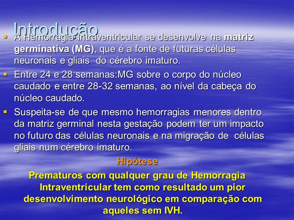 Conclusão  Os autores relataram que baixo grau da Hemorragia Intraventricular pode influenciar negativamente nos resultados do desenvolvimento neurológico à longo prazo em prematuros extremos.