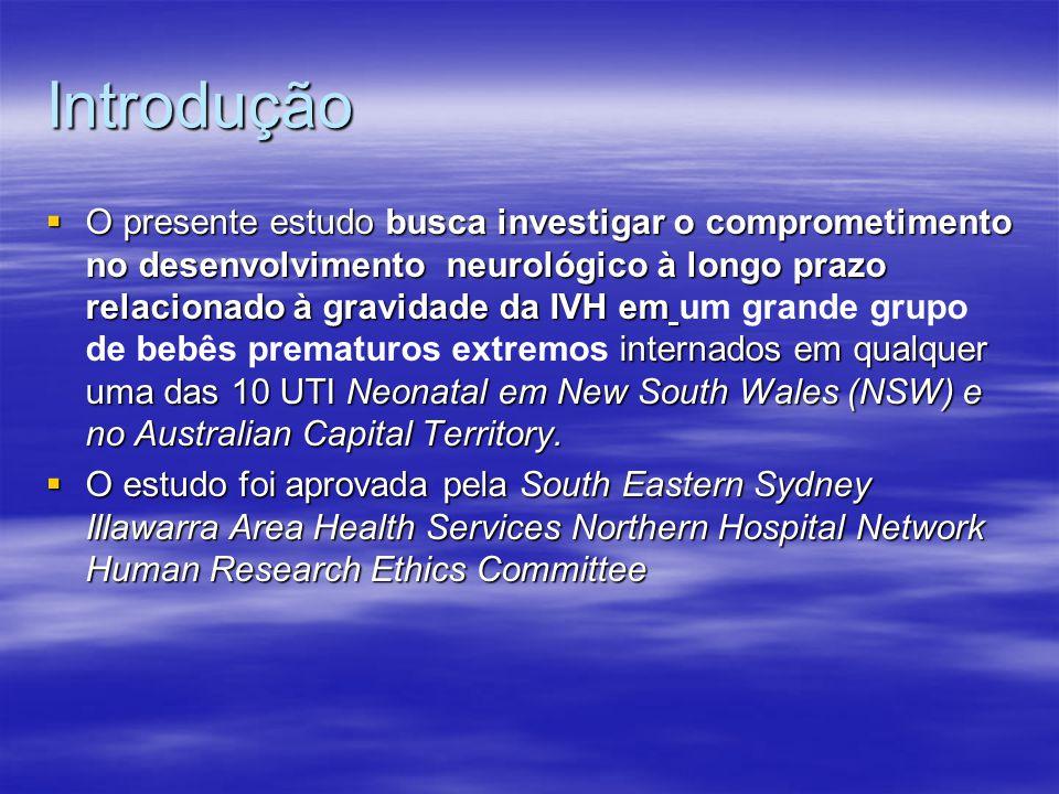 Introdução  O presente estudo busca investigar o comprometimento no desenvolvimento neurológico à longo prazo relacionado à gravidade da IVH em internados em qualquer uma das 10 UTI Neonatal em New South Wales (NSW) e no Australian Capital Territory.