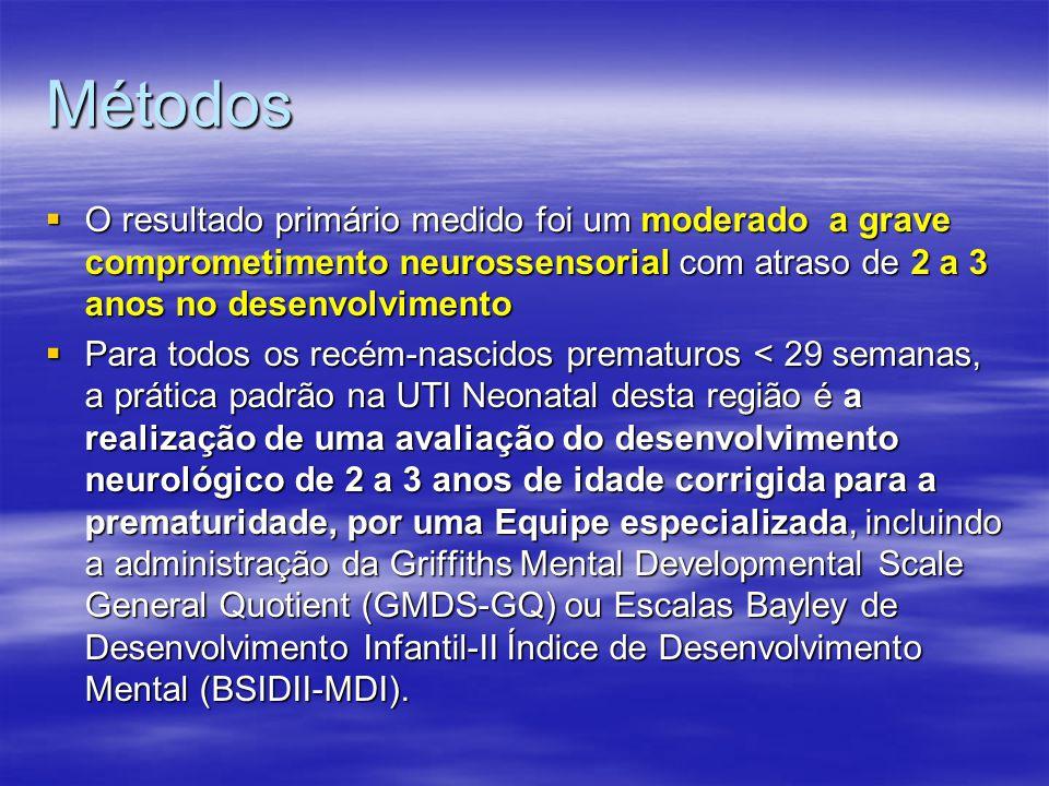 Métodos  O resultado primário medido foi um moderado a grave comprometimento neurossensorial com atraso de 2 a 3 anos no desenvolvimento  Para todos os recém-nascidos prematuros < 29 semanas, a prática padrão na UTI Neonatal desta região é a realização de uma avaliação do desenvolvimento neurológico de 2 a 3 anos de idade corrigida para a prematuridade, por uma Equipe especializada, incluindo a administração da Griffiths Mental Developmental Scale General Quotient (GMDS-GQ) ou Escalas Bayley de Desenvolvimento Infantil-II Índice de Desenvolvimento Mental (BSIDII-MDI).