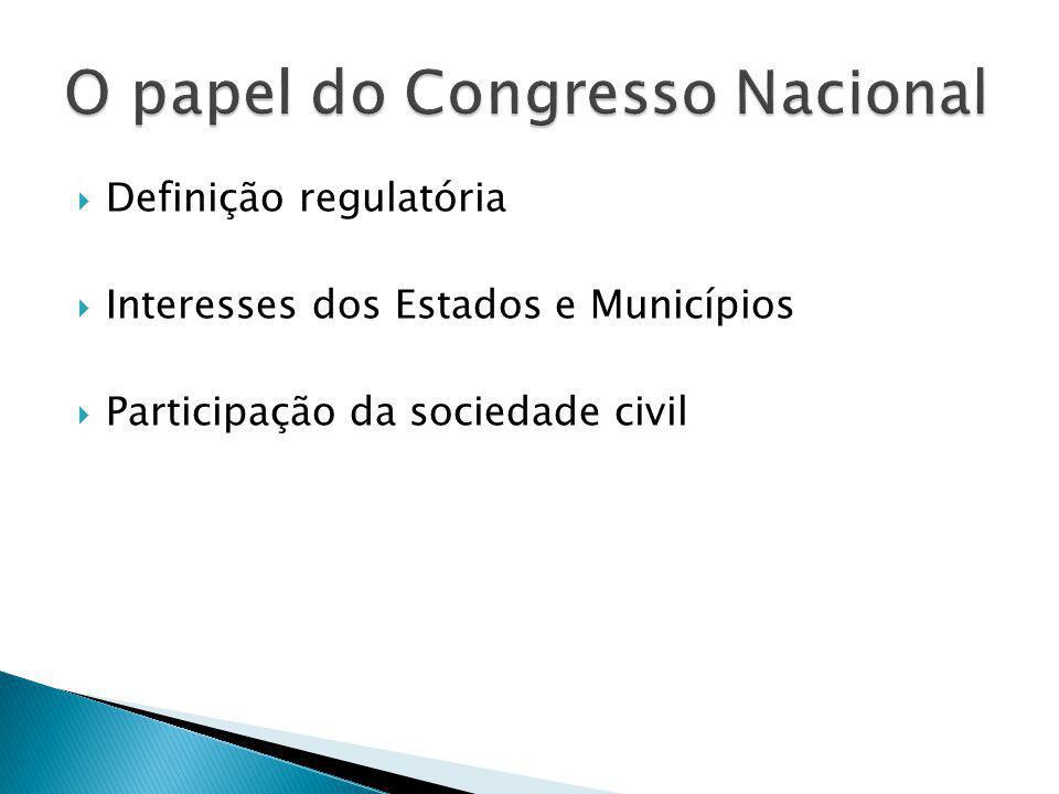  Definição regulatória  Interesses dos Estados e Municípios  Participação da sociedade civil