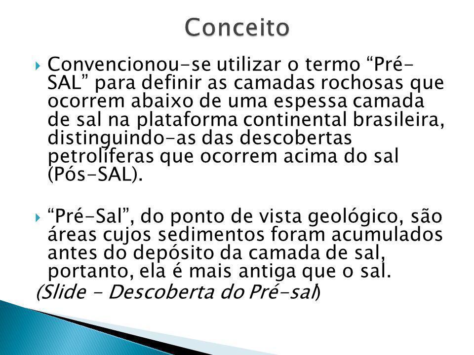 """ Convencionou-se utilizar o termo """"Pré- SAL"""" para definir as camadas rochosas que ocorrem abaixo de uma espessa camada de sal na plataforma continent"""